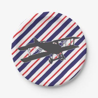 Navy and Red Vintage Airplane Paper Plates