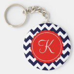 Navy and Red Zig Zag Custom Initial Basic Round Button Key Ring