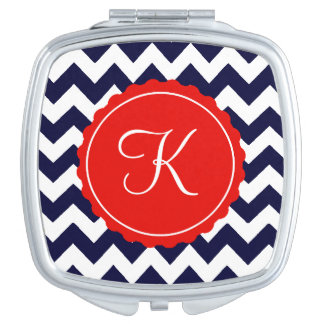 Navy and Red Zig Zag Custom Initial Makeup Mirror