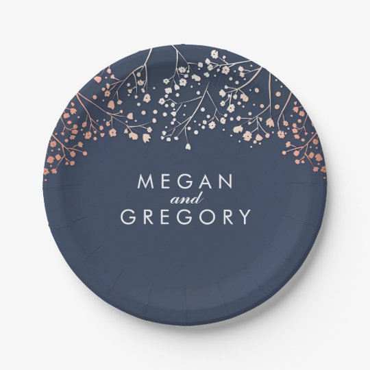 Navy and Rose Gold Baby's Breath Wedding Paper