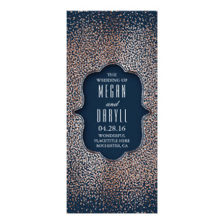 Navy and Rose Gold Glitter Wedding Programs Rack Card Template