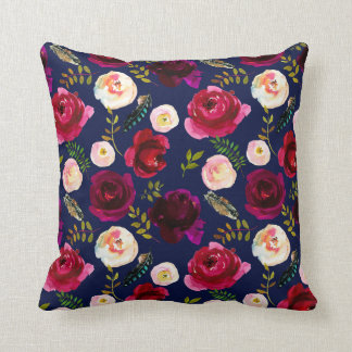 Navy and Rose Pillow