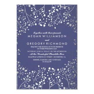Navy and Silver Baby's Breath Simple Wedding Card
