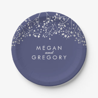 Navy and Silver Baby's Breath Wedding Paper Plate