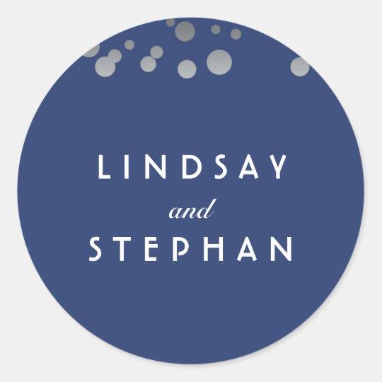Navy and Silver Confetti Wedding Classic Round Sticker
