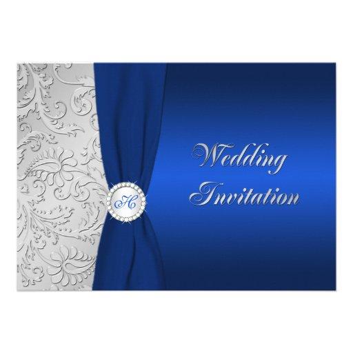 Navy and silver damask monogram wedding invitation 13 cm x for Navy and silver wedding invitations uk