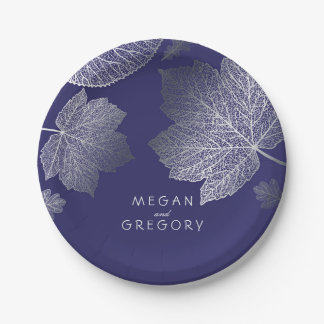 Navy and Silver Fall Leaves Wedding Paper Plate