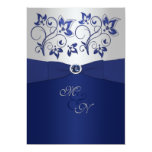Navy and Silver Floral Monogram Invitation