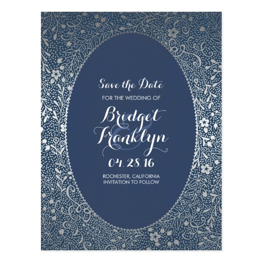 Navy and Silver Floral Vintage Save the Date