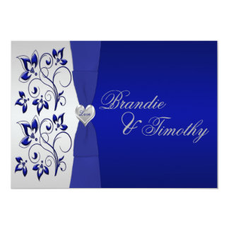 "Navy and Silver Floral Wedding Invitation 5"" X 7"" Invitation Card"