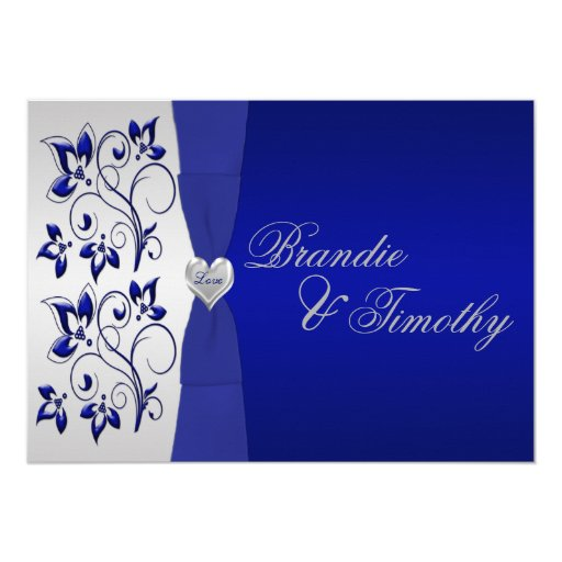 Navy and silver floral wedding invitation zazzle for Navy and silver wedding invitations uk