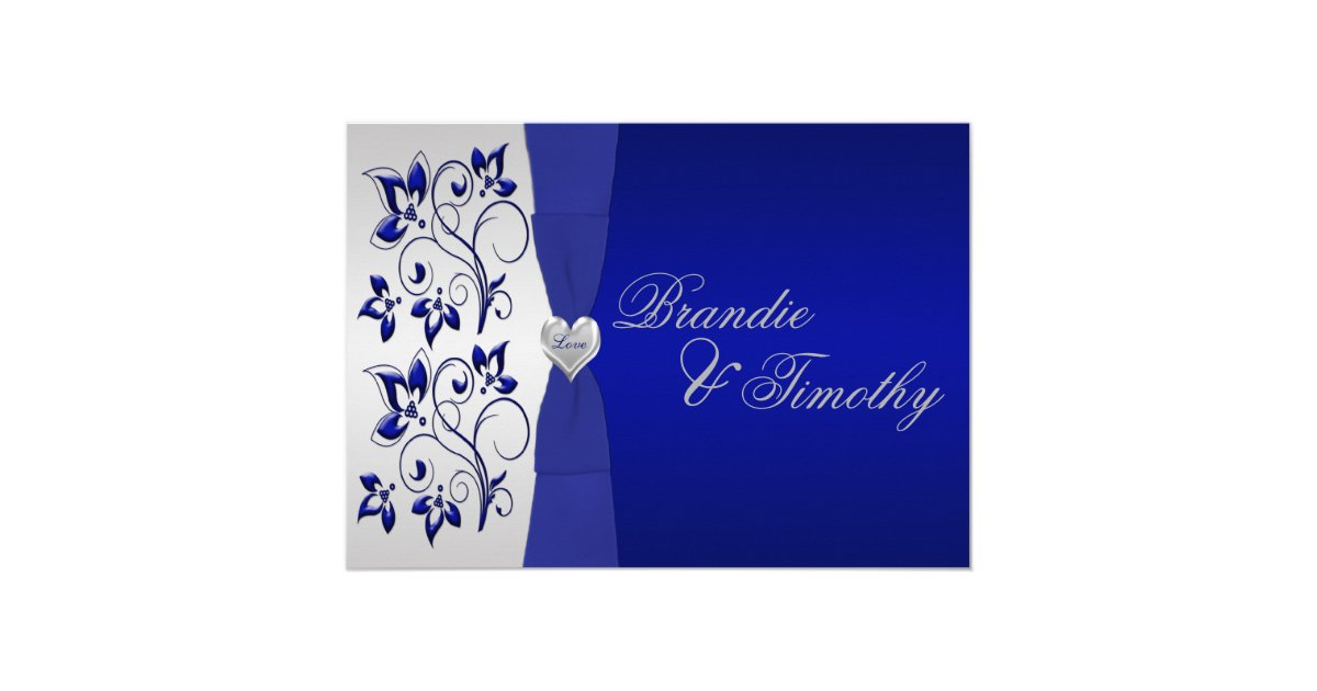 Navy and silver floral wedding invitation zazzlecouk for Navy and silver wedding invitations uk