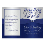 Navy and Silver Floral Wedding Program Full Color Flyer