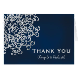 NAVY AND SILVER INDIAN STYLE WEDDING THANK YOU NOTE CARD