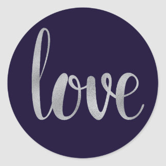 Navy and silver love stickers