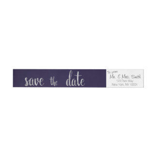 Navy and silver save the date address labels