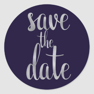 Navy and silver save the date stickers