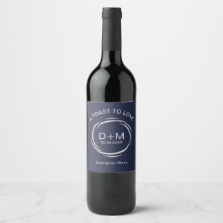 Navy and Silver Toast to Love Custom Wedding Wine Label