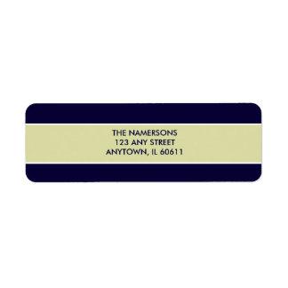 Navy and Tan Return Address Label