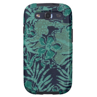 Navy and Turquoise Batik Pattern Galaxy SIII Cases