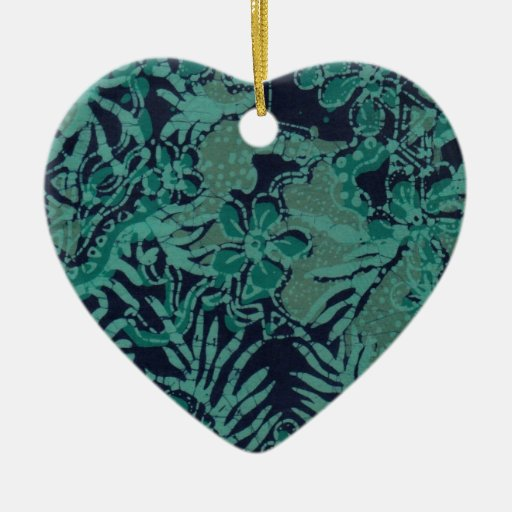 Navy and Turquoise Batik Pattern Christmas Ornament
