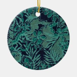 Navy and Turquoise Batik Pattern Round Ceramic Decoration