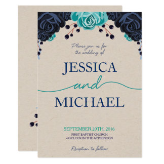 Navy and Turquoise Floral Wedding Invitation