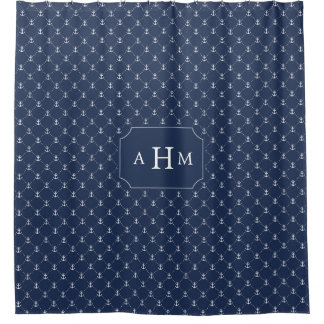 Navy and White Anchor Pattern Monogram Shower Curtain