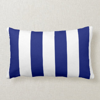 Navy and White Bold Vertical Stripes Lumbar Cushion