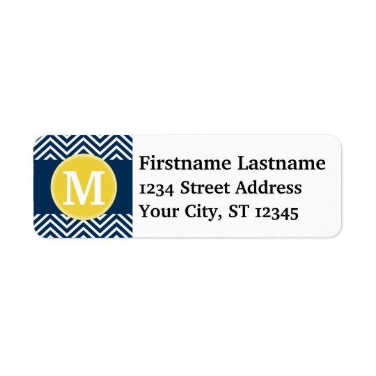 Navy and White Chevron Pattern Custom Monogram Return Address Label
