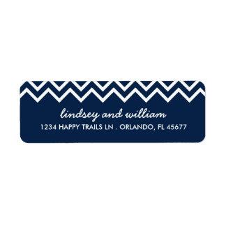 Navy and White Chevron Wedding Address Labels