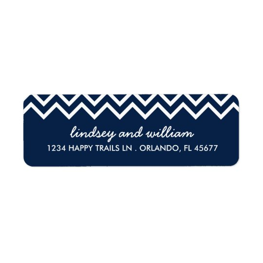Navy and White Chevron Wedding Address Labels