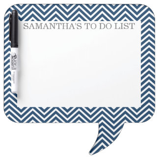 Navy and White Chevrons with Custom Name Dry-Erase Whiteboards