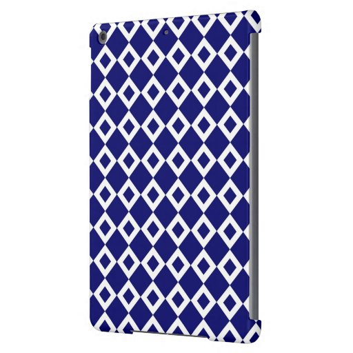 Navy and White Diamond Pattern iPad Air Cases