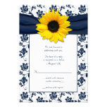 Navy and White Floral Damask Wedding Reply Card Custom Invites