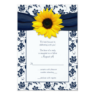 "Navy and White Floral Damask Wedding Reply Card 3.5"" X 5"" Invitation Card"