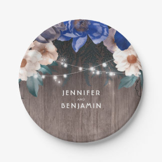 Navy and White Floral Rustic Wood String Lights 7 Inch Paper Plate