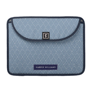 Navy and White Geometric Pattern with Custom Name Sleeves For MacBooks