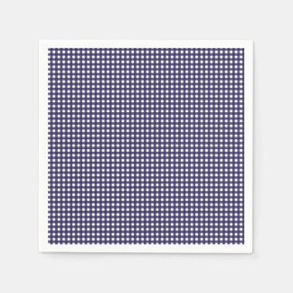 Navy and White Gingham Paper Napkins