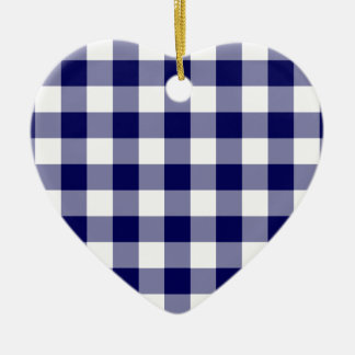 Navy and White Gingham Pattern Ceramic Heart Decoration