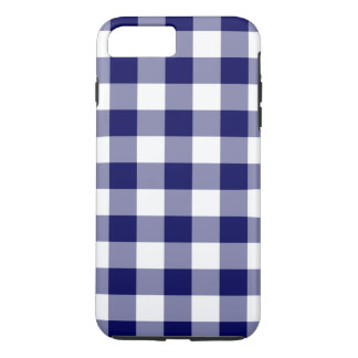 Navy and White Gingham Plaid iPhone 8/7 Plus Case