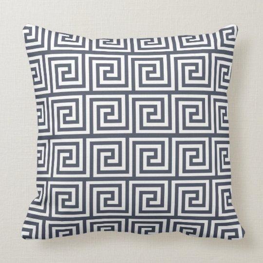 Navy and White Greek Key Pattern Throw Pillow