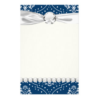 navy and white henna style damask stationery paper