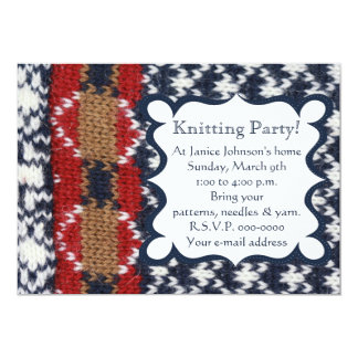 Navy and White Knitting Party Card