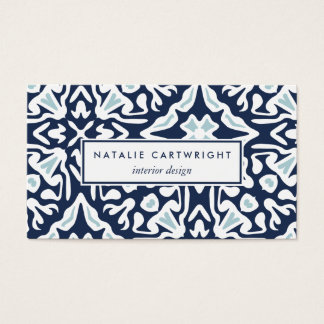 Navy and White Mediterranean Pattern Business Card