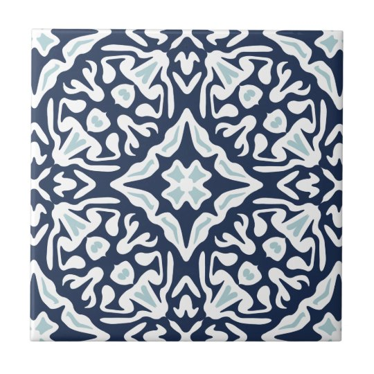 Navy and White Mediterranean Pattern Small Square Tile