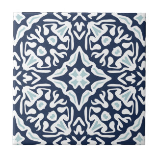 Navy and White Mediterranean Pattern Tile