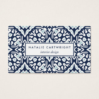 Navy and White Mediterranean Tile Pattern Business Card