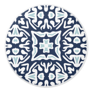 Navy and White Mediterranean Tile Pattern Ceramic Knob