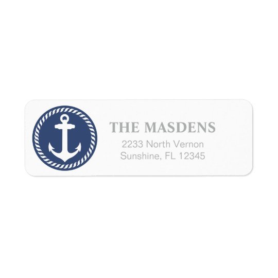 Navy and White Nautical Anchor Design Return Address Label